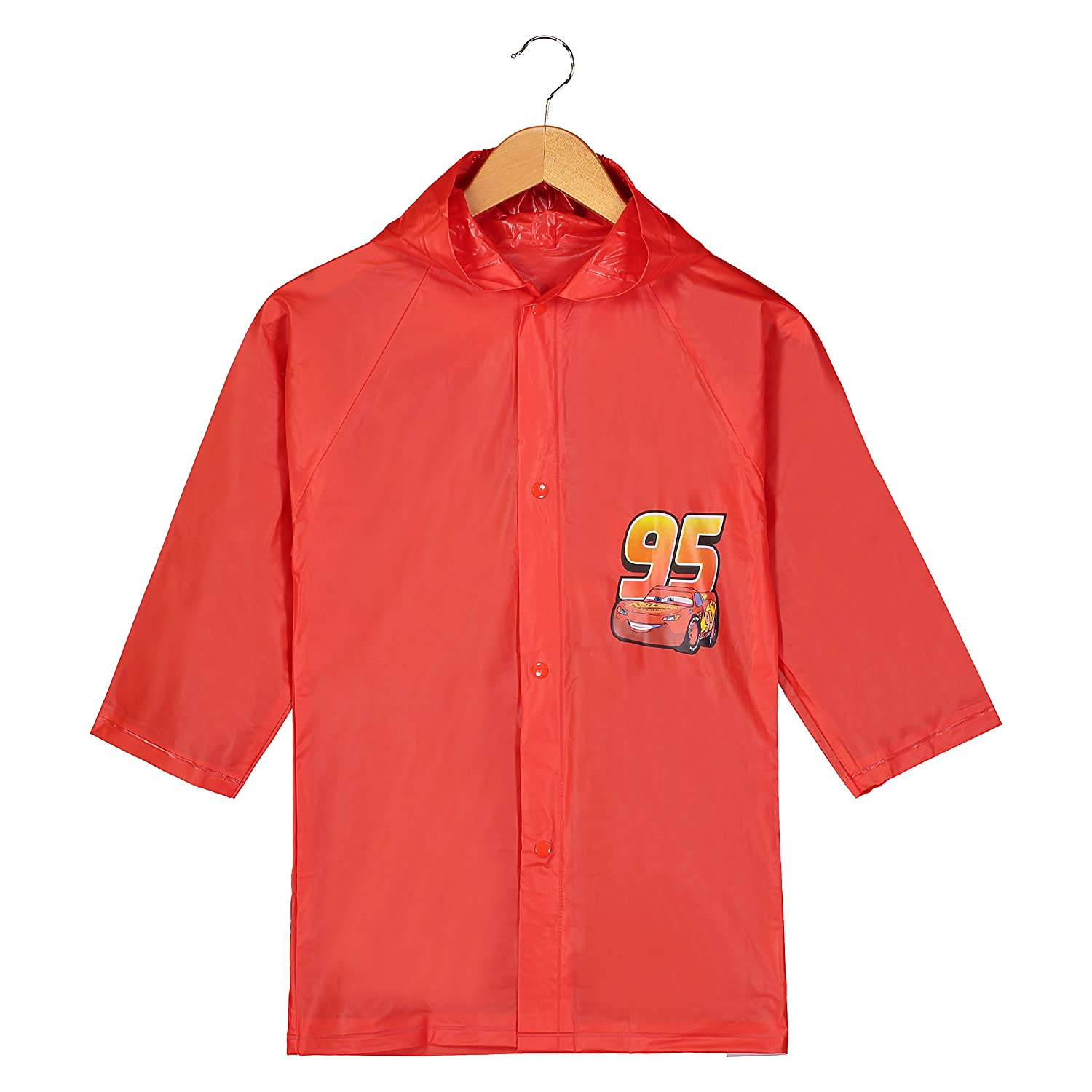 Disney Pixar Cars Little Boys Lightning McQueen Waterproof Outwear Hooded Rain Slicker Toddler