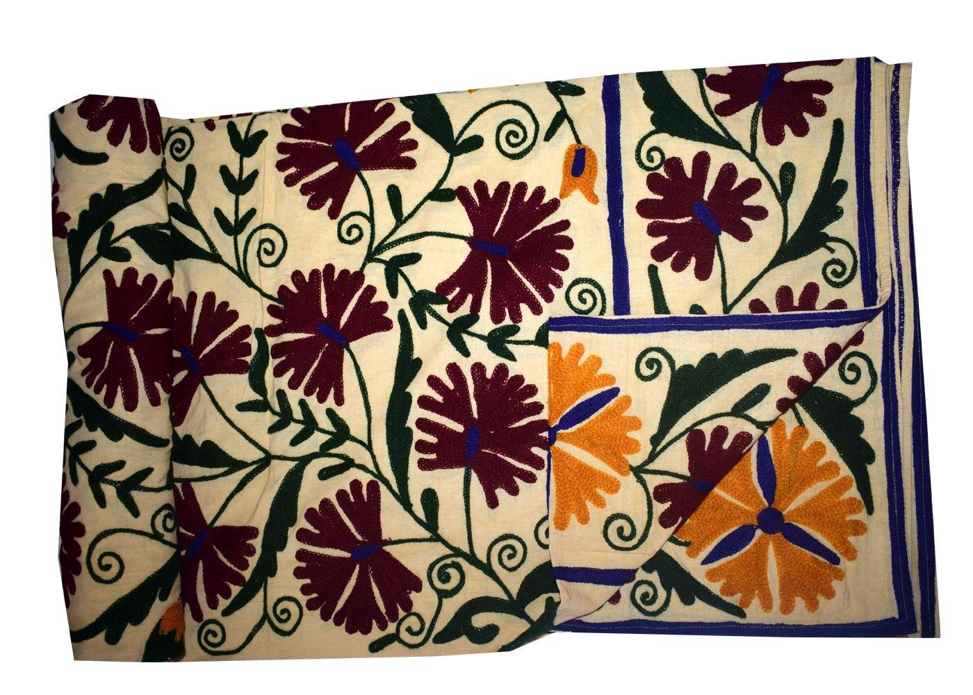 新しいインド花柄刺繍ハンドメイドコットンベッドスプレッドヴィンテージSuzaniベッドスローインテリアBedcover 90 X 108 Inches MPN B078Z2ZR3Y Cream Purple Floral Leaves 90 X 108 Inches
