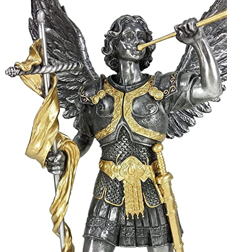 13 Saint Gabriel Archangel Statue W Trumpet and Cross Pewter Gold Finish Angel