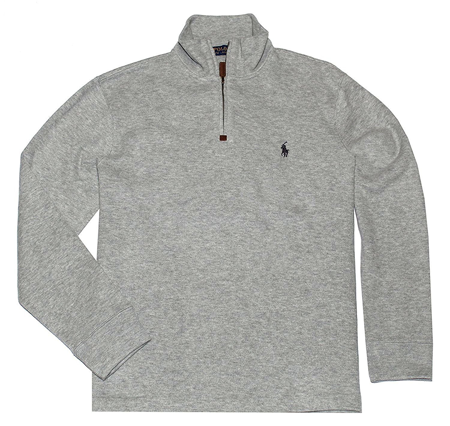 Polo Ralph Lauren Men's French Rib Knit Half Zip Pullover Sweater Heather Grey Large