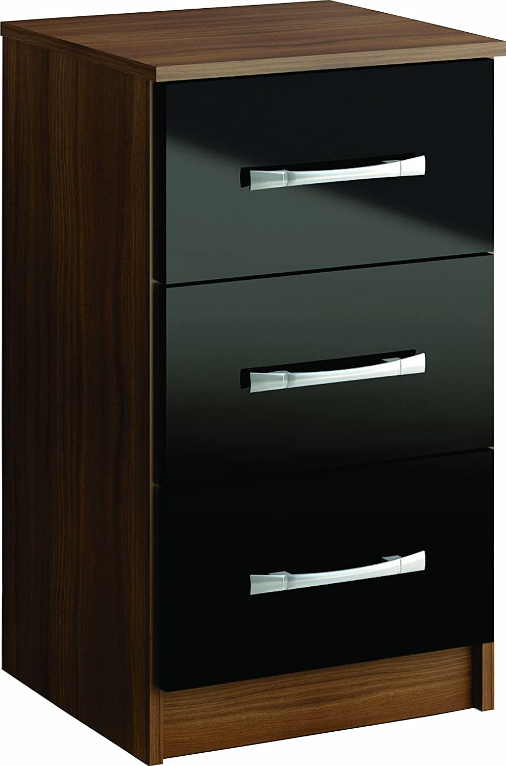 Birlea Lynx 3-Drawer Bedside Table - High-Gloss, Black Birlea Furniture Ltd LYNBSBLK