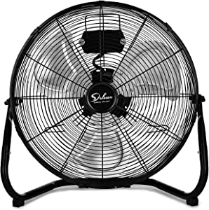 Simple Deluxe 20 Inch 3-Speed High Velocity Heavy Duty Metal Industrial Floor Fans Oscillating Quiet for Home, Commercial, Residential, and Greenhouse Use, Outdoor/Indoor, Black, 20""