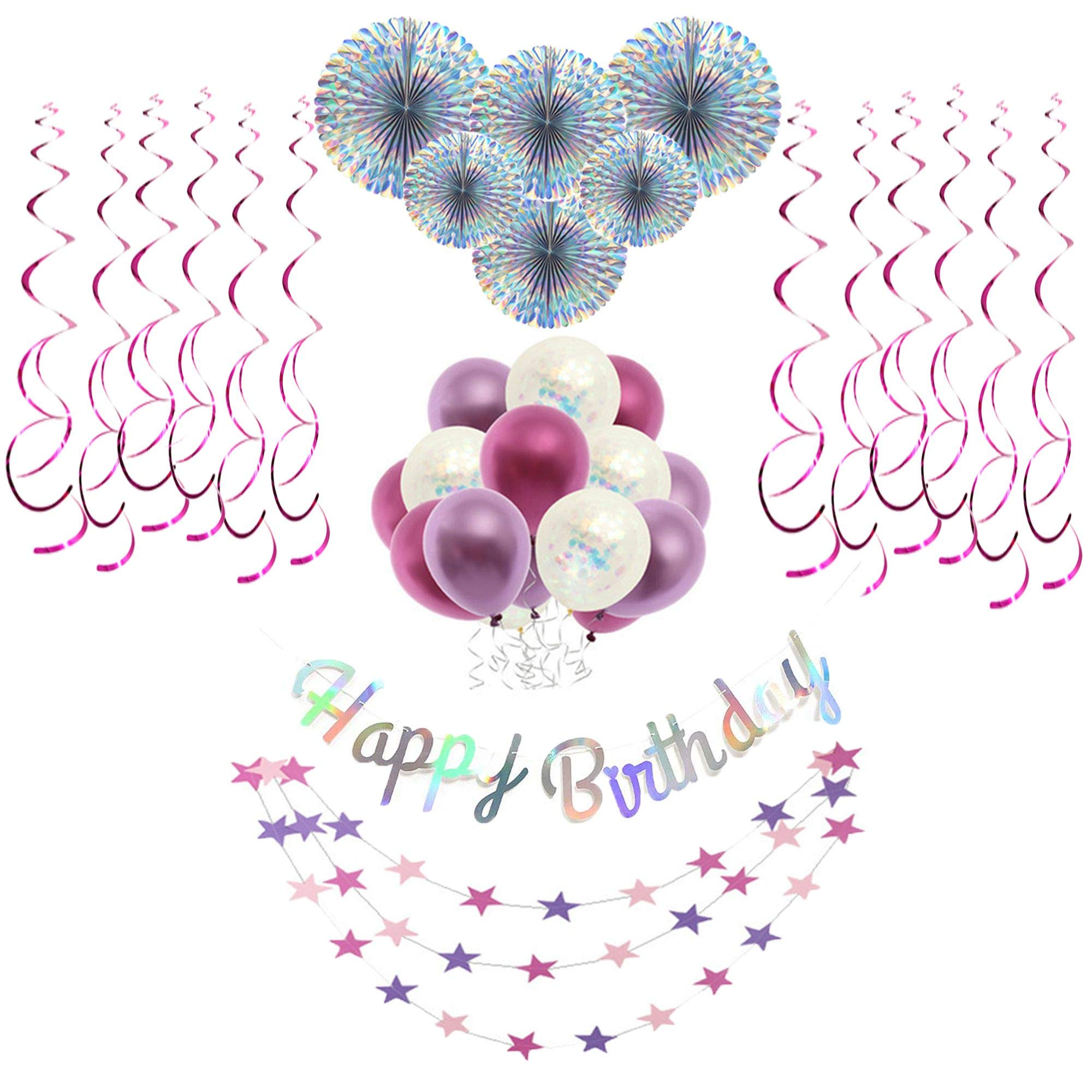 Birthday Decorations for Women,Party Supplies in Purple,Female 40th 50th 60th Birthday Decorations,Laser Paper Fans,Confetti Balloons, Hanging Swirls,Star-shaped Garland and the Happy Birthday Banner. by Sandy