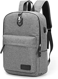 Kinmac Grey Anti Theft Student Outdoor Travel Backpack Water Resistant Laptop Backpack 15 inch-15.6 inch With USB Charging Port