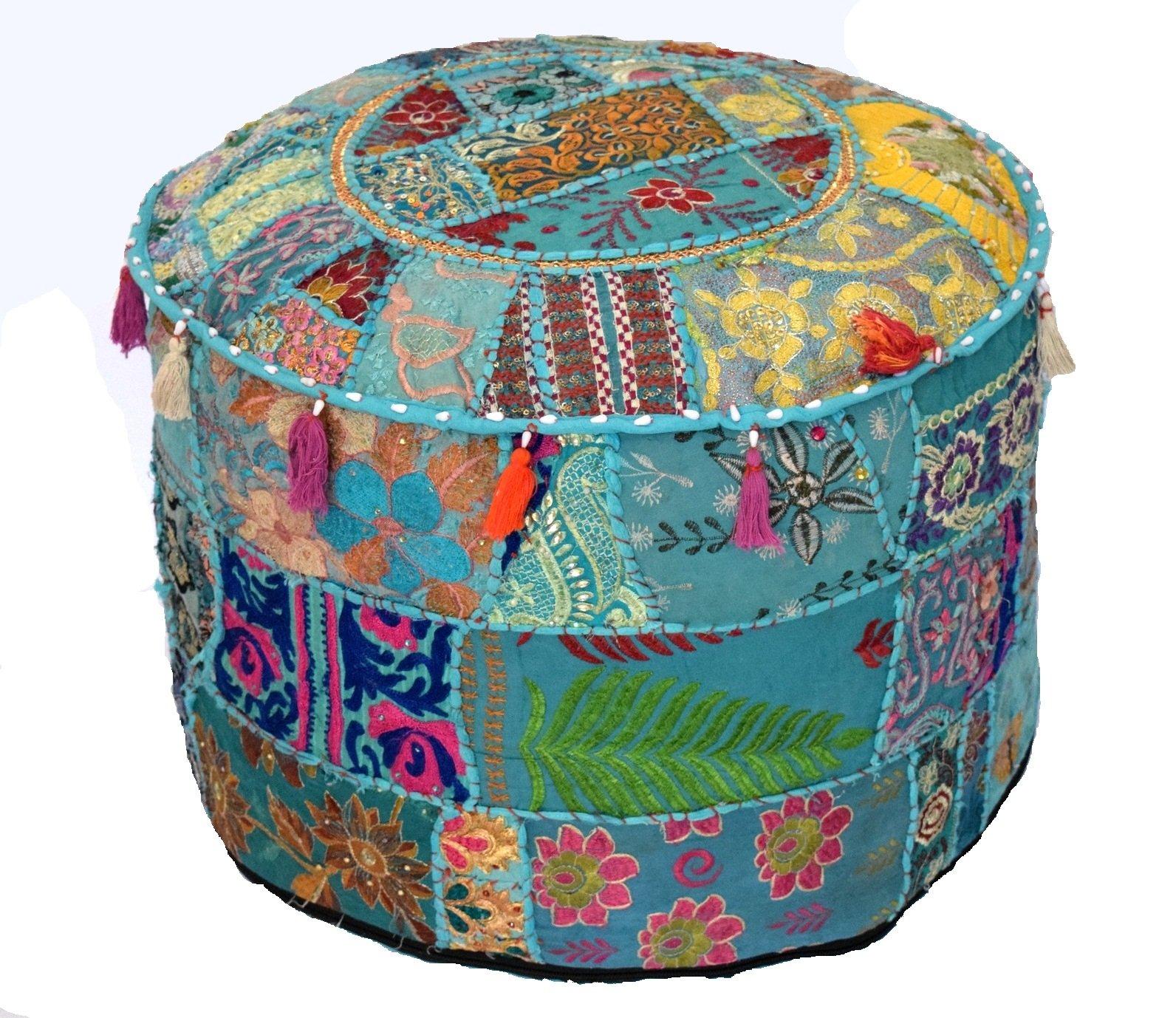 khushvin Vintage Sari Patchwork Ottoman Bohemian Indian Patchwork Ottoman Traditional Handmade Pouf Indian Patchwork Foot stool Ottoman 22x14