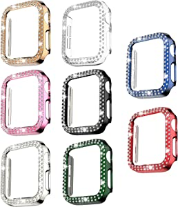 8 Pack Bling Case Compatible with Apple Watch 38mm Series 3/2/ 1, Fvlerz Hard PC Double Row Crystal Diamond Plated Case Shockproof Cover All-Around Protective iWatch Accessories