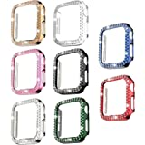 8 Pack Bling Case Compatible with Apple Watch 44mm SE Series 6/5/ 4, Fvlerz Hard PC Double Row Crystal Diamond Plated Case Sh