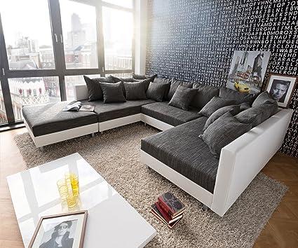 Wohnlandschaft Couch Clovis Von Delife Schwarz Weiss 300cm Wonoro