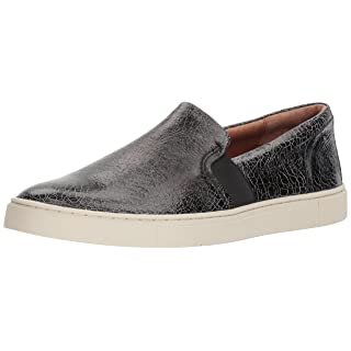 FRYE Women's Ivy Slip Sneaker, Metallic Black, 6.5 M US