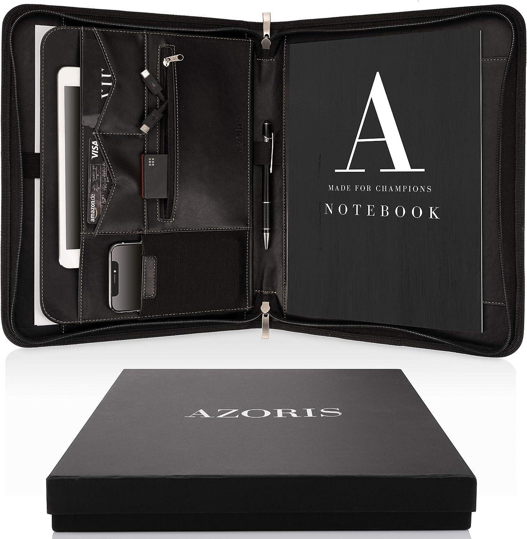 Carpeta de Conferencias A4 Premium con doble cremallera y compartimento de 11 pulgadas para la tableta, IPad Portadocumentos profesional de PU-cuero para hombres y mujeres