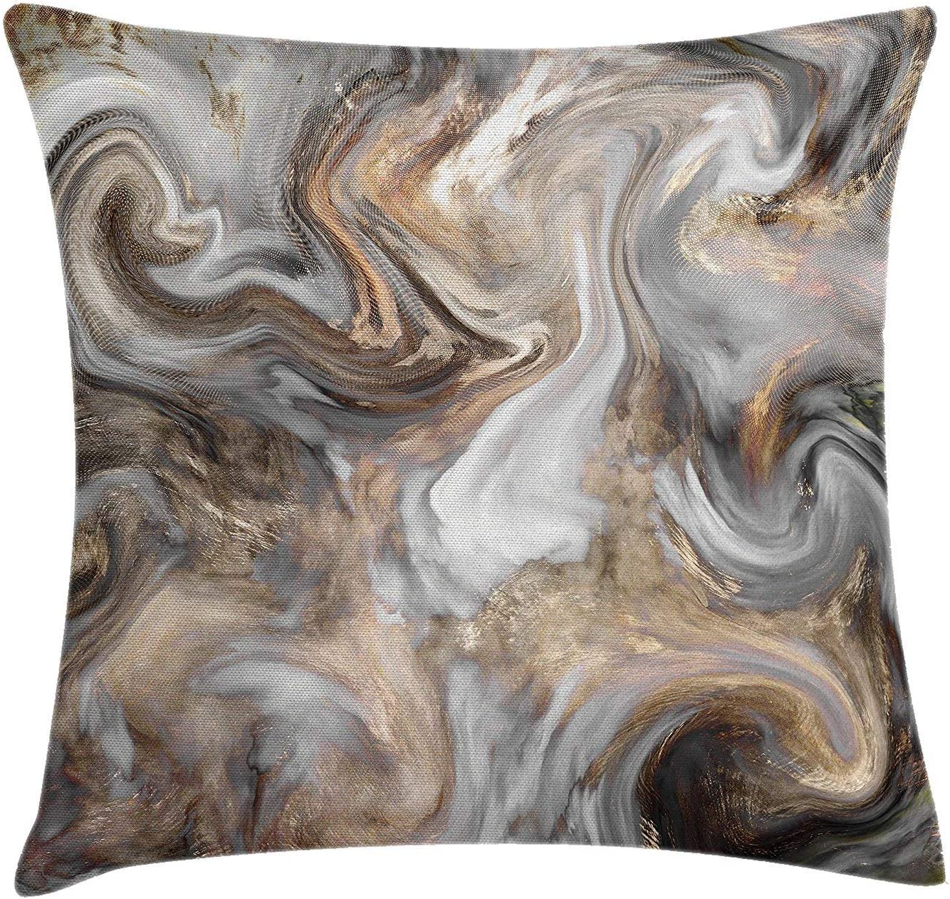 Asefcnxkjii Marble Throw Pillow Cushion Cover, Retro Style Paintbrush Colors in Marbling Texture Watercolor Artwork, Decorative Square Accent Pillow Case, 18 X 18 Inches, Sand Brown Dust Light Grey