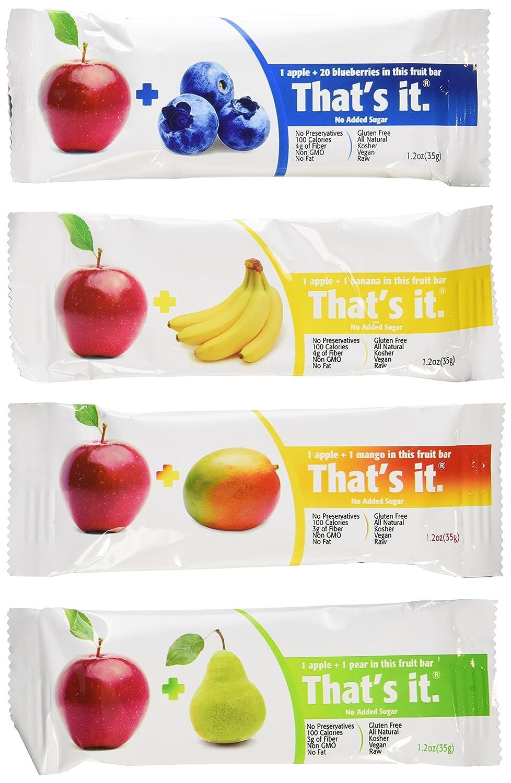 That's it Super Sampler, Pack of 12, (4 Apple+MANGO, 2 Apple+Blueberry, 2 Apple+Pear, 2 Apple+Cherry, 2 Apple Banana)