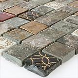 Glas Marmor Mosaik Fliesen Braun Gold Glasmosaik Xxmm - Mosaik fliesen braun gold