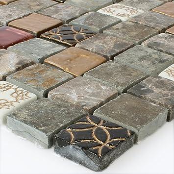 Glas Naturstein Mosaik Fliesen Mix Amazon De Baumarkt