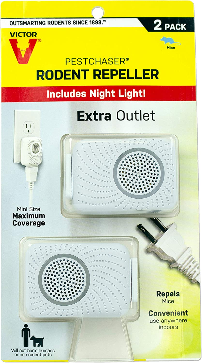 Victor M752PS 2 Units Pestchaser Rodent Repellent w/Nightlight & Extra Outlet,White