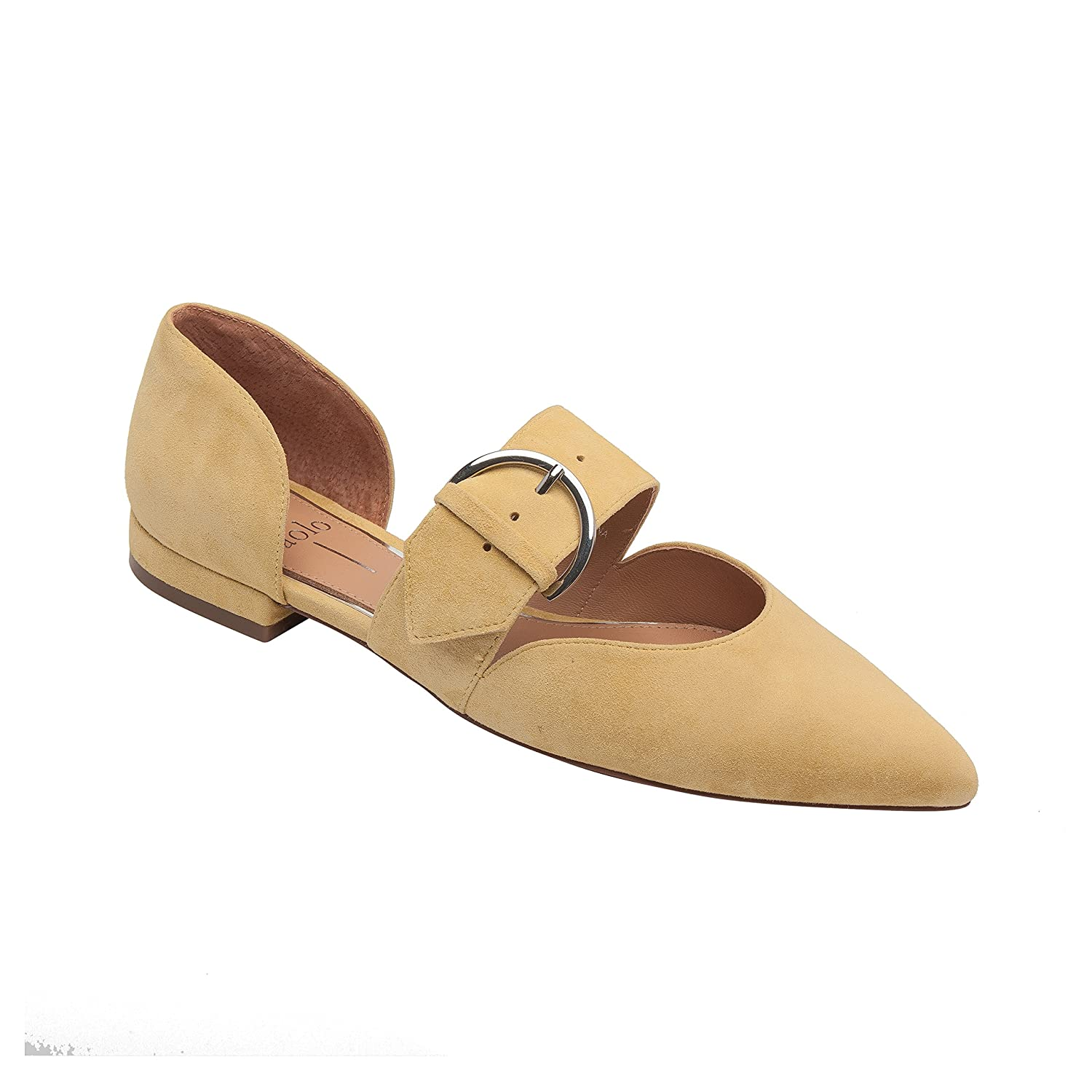 Dean | Women's Two Piece Pointy Toe Comfortable Leather or Suede Ballet Flat B07957DL18 7.5 M US|Straw Suede