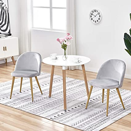 Tonvision Small Wood Dining Table And Set Of 2 Velvet Chairs