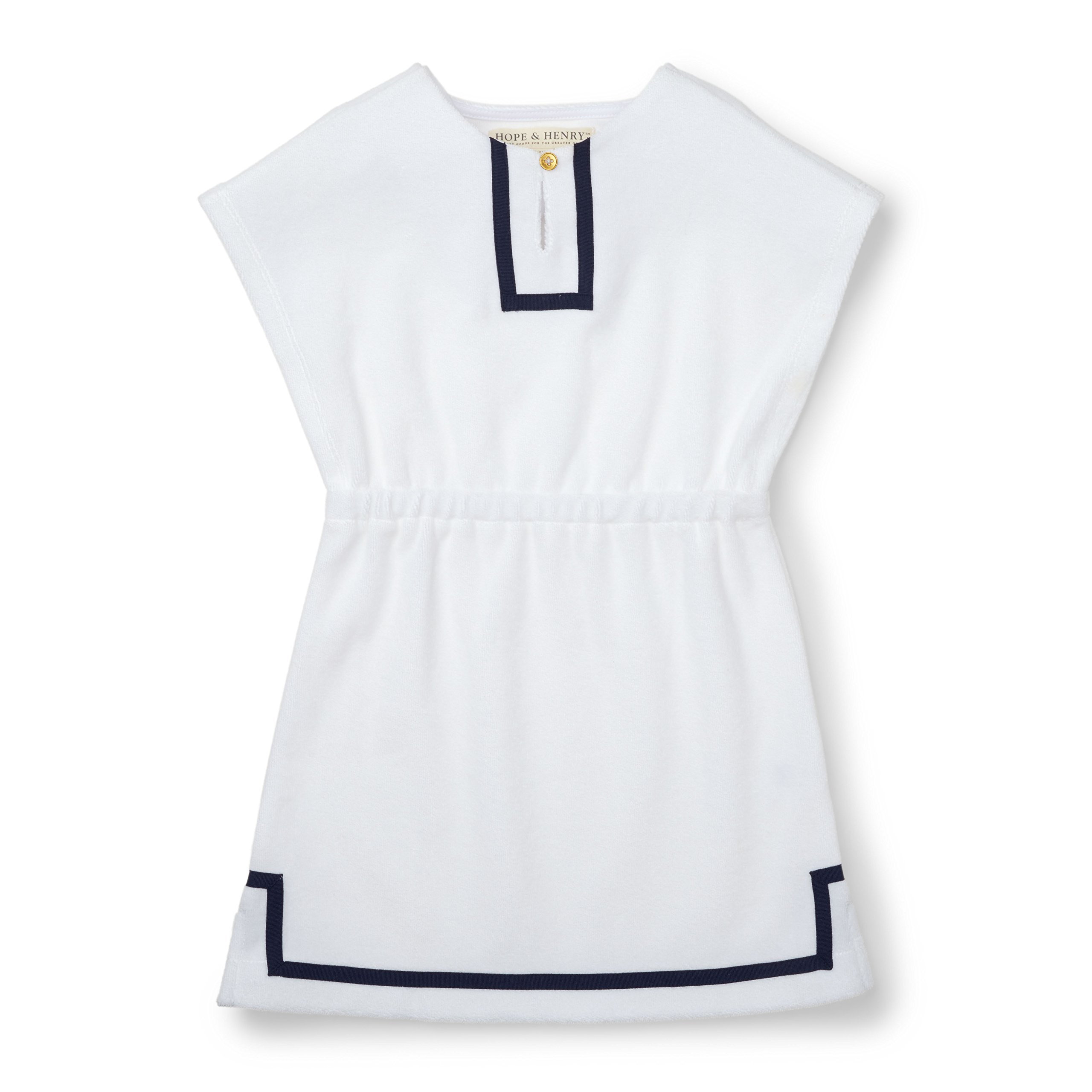 Hope and Henry Girls White Swim Coverup Made with Organic Cotton