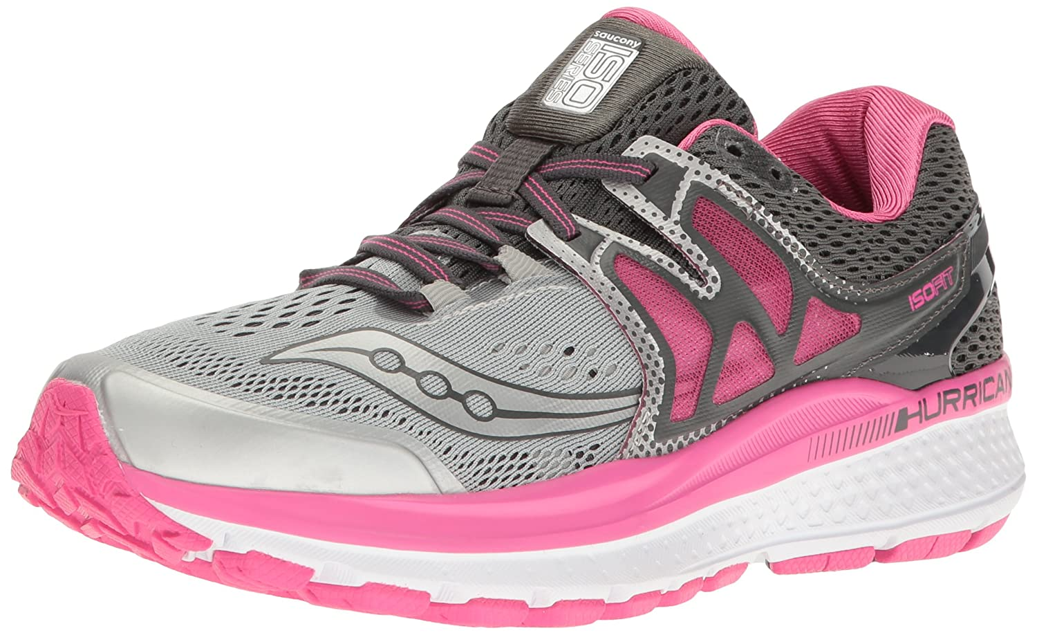 Saucony Women's Hurricane ISO 3 Running Shoe B01GIJR2L6 6.5 W US|Grey/Pink/White