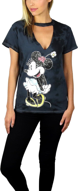 Disney Minnie Mouse Womens Junior V Neck T Shirt Distressed Logo Super Soft Tee