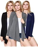 Free to Live Women's 3 Pack Light Weight Open Front Cardigans - Made in USA