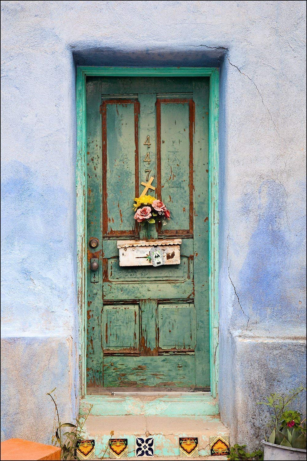 Wall Art Decor Photograph of American Southwest Colorful Painted Green Door with Flowers Mailbox and Cross with Adobe Blue Wall