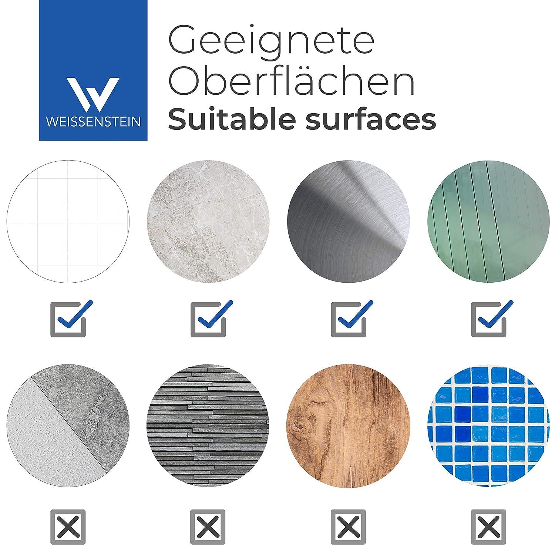 WEISSENSTEIN Porta carta igienica adesivo verticale Porta rotolo bagno con supporto in acciaio inox argento 22 x 6,7 x 3 cm