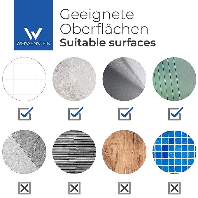 WEISSENSTEIN Jabonera de baño Pared Adhesiva | Soporte para jabón de Vidrio y Acero Inoxidable | Jabonera Redonda 11 x 11 x 11 cm