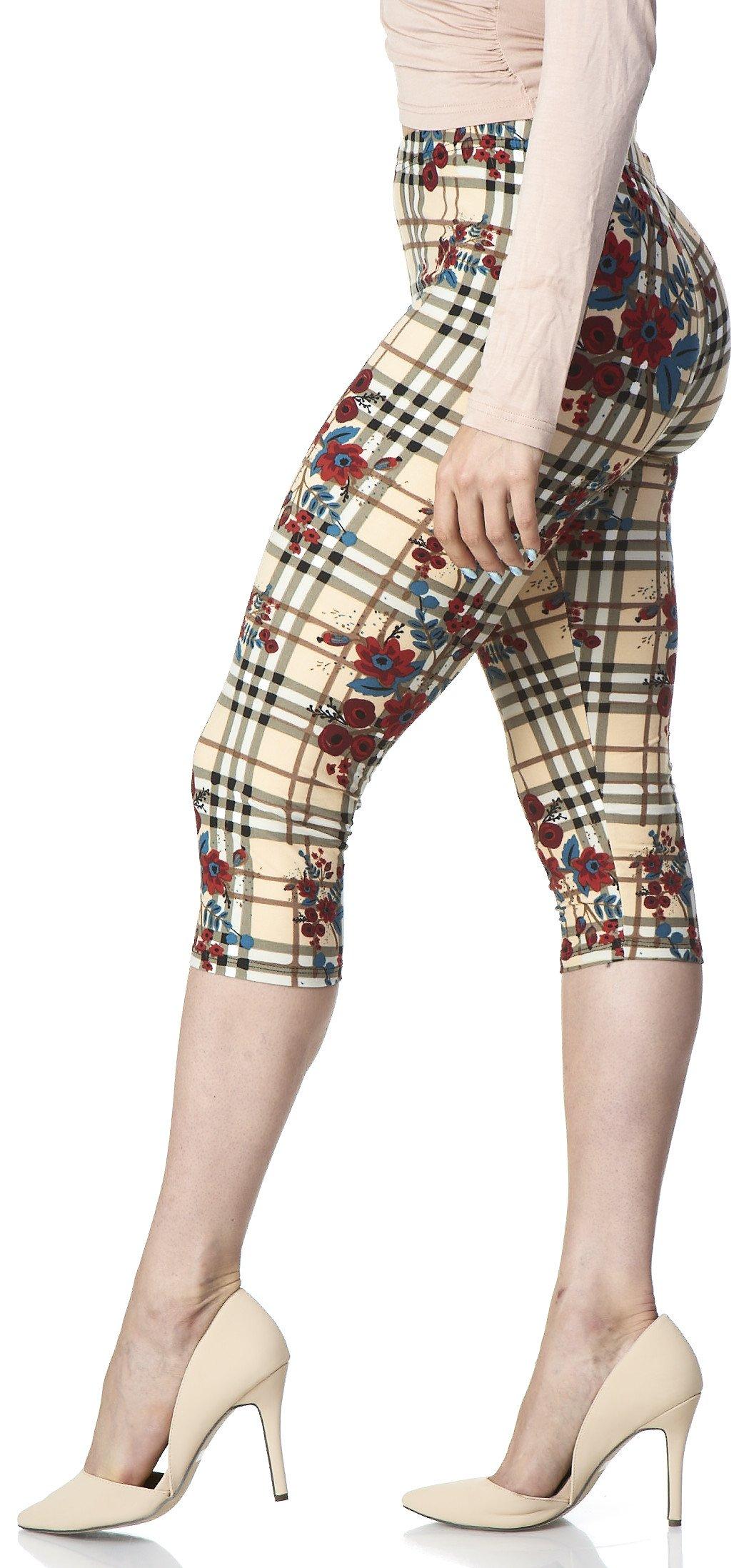 LMB Lush Moda Extra Soft Leggings with Designs- Variety of Prints - Floral Plaid - W J076CA