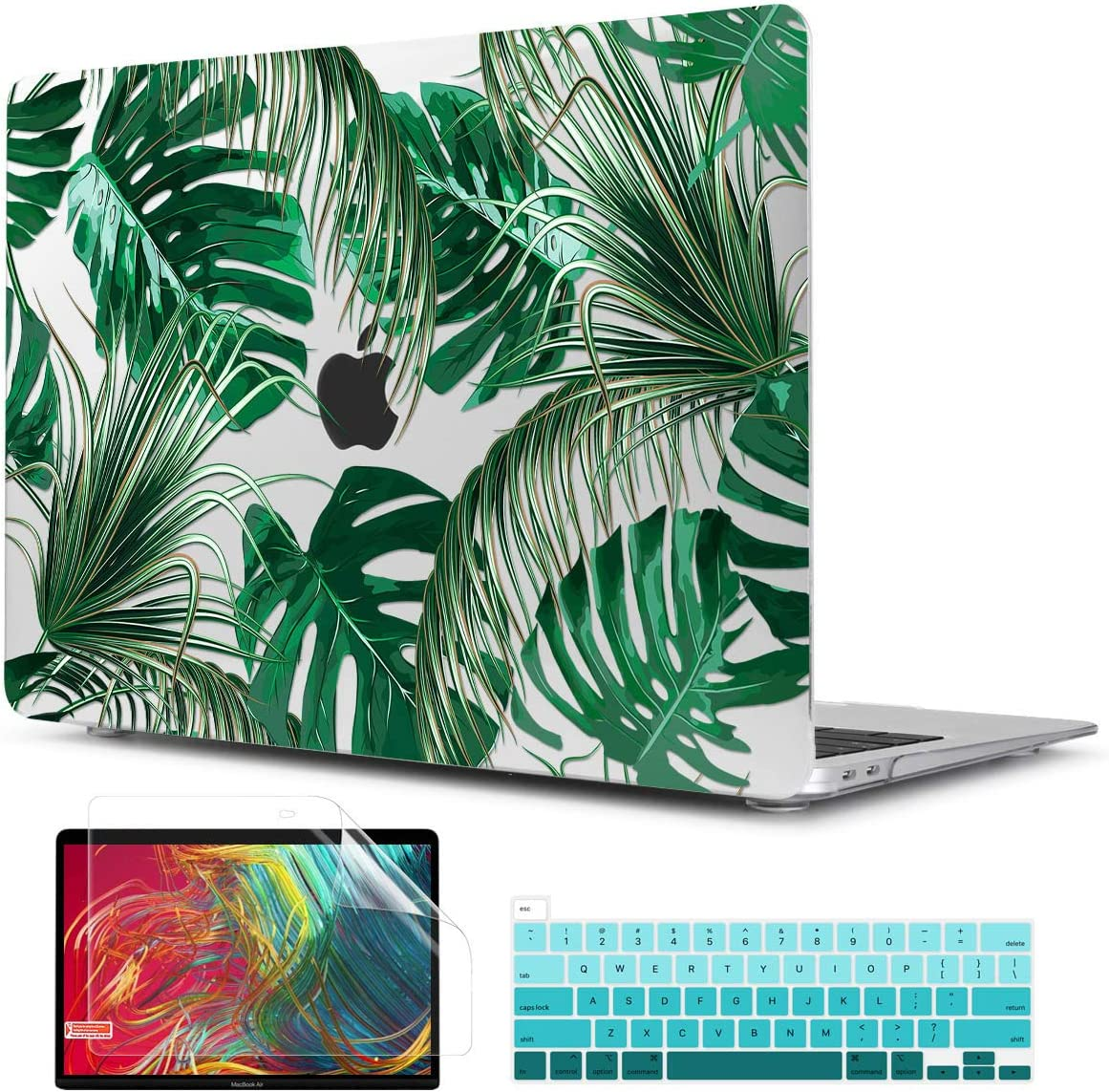 TwoL Tropical Palm Leaves Hard Shell Case Keyboard Cover Screen Protector for 2020 MacBook Pro 13 inch Touch Bar & Touch ID Model A2251 A2289