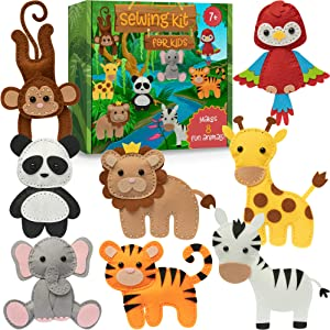 Craftorama Sewing Kit for Kids, Fun and Educational Animal Craft Set for Boys and Girls Age 7-12, Sew Your Own Felt Animals Craft Kit for Beginners, 165 Piece Set