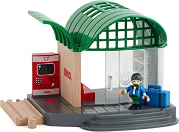 BRIO 33745 Train Station Wooden Railway Accessories Real Ticket Office Sounds