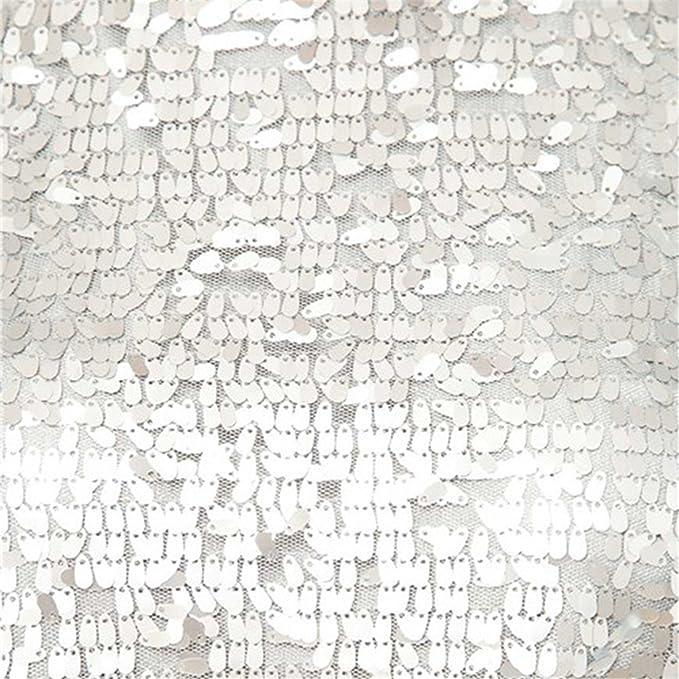 555dcb8341a4 Sexy Senza Maniche Splendente GlitterateSparkly Glitter Paillettes e  decorati Mini Corti Corto Trapezioe Tank Canotte Carro Armato Vestito Abito  Argento L  ...