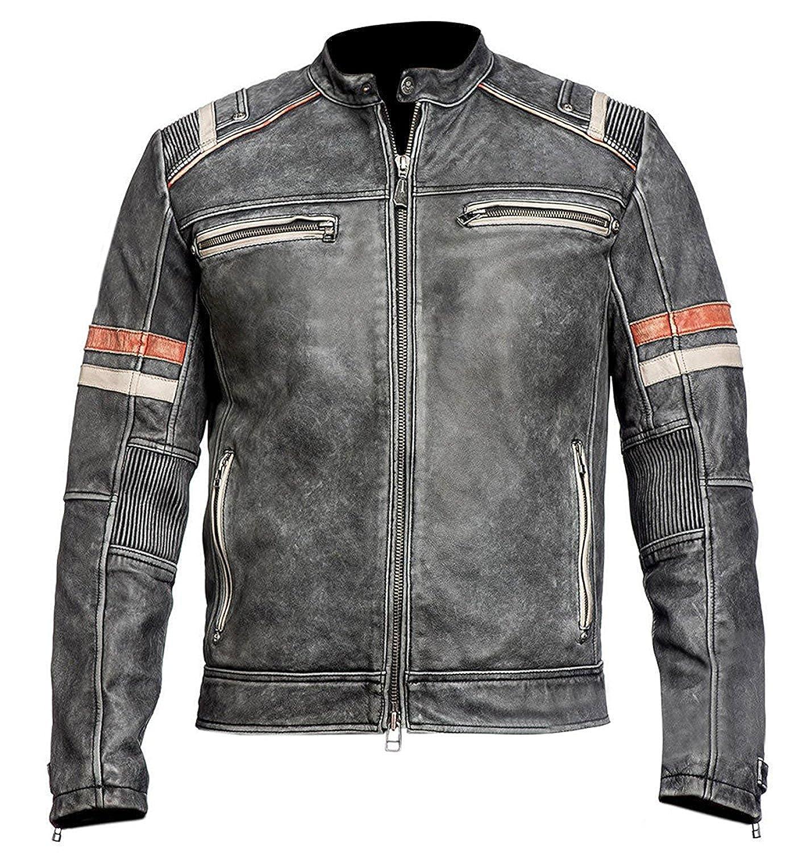a8c20102c876 Men s Black Distressed Retro Men s Vintage Café Racer Motorccley Leather  Jacket Winter Collection at Amazon Men s Clothing store