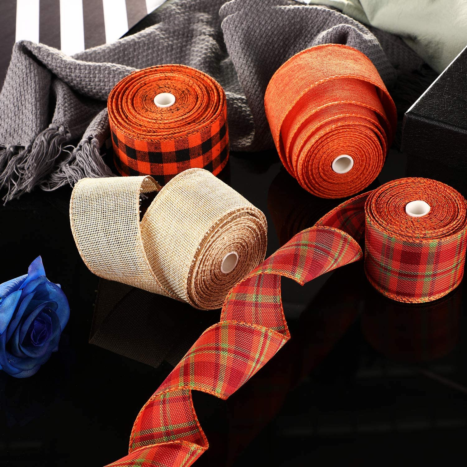236 x 1.97 Inches 4 Rolls Plaid Burlap Ribbon Thanksgiving Wrapping Ribbon Wired Craft Ribbon Multi-Color Plaid Ribbon for Thanksgiving Decoration Floral Bows Crafts