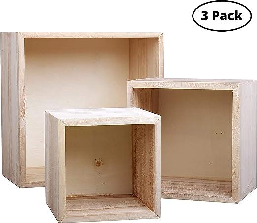BELLE VOUS Marco Caja de Madera Cuadrada (3 Piezas) - 3 Tamaños ...