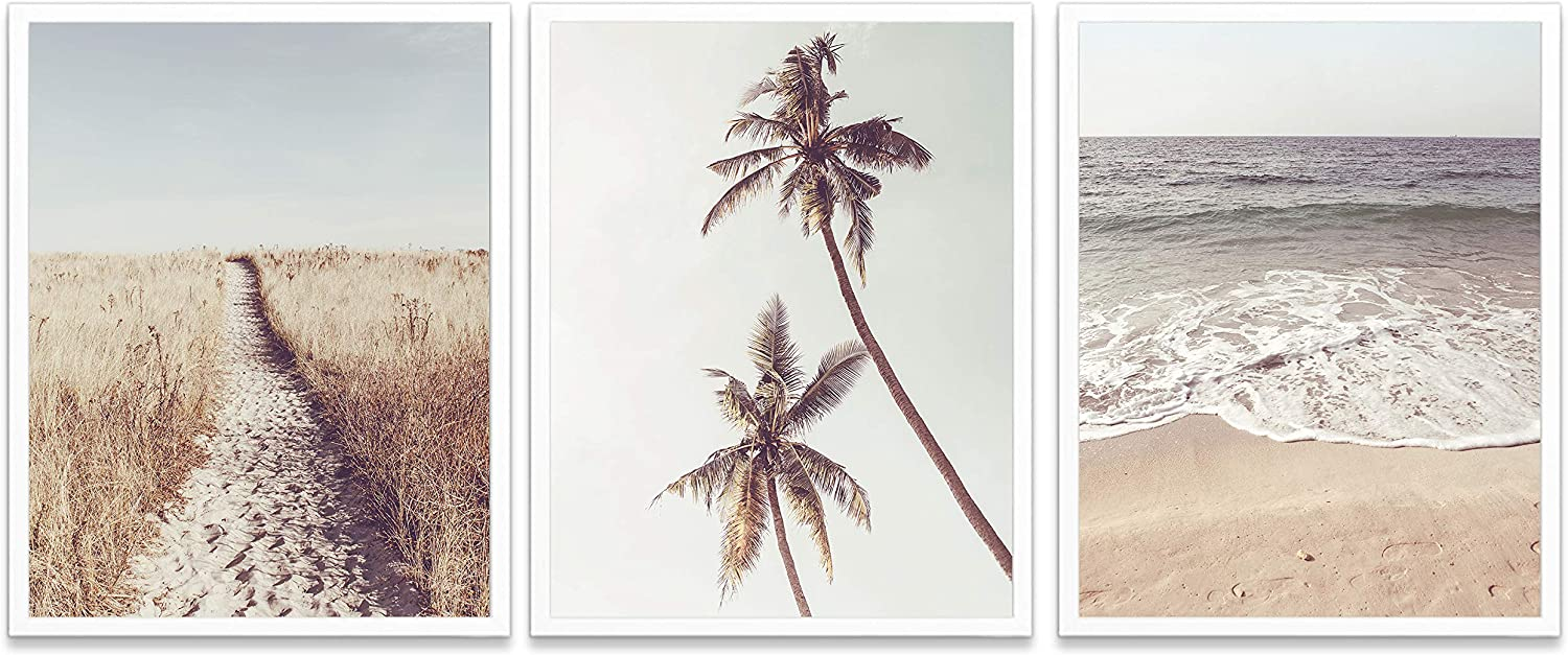 Amazon Com Beach Themed Photography Prints Set Of 3 Unframed Coastal Palm Trees Waves Ocean Wall Art Decor Poster Sign 8x10 Posters Prints