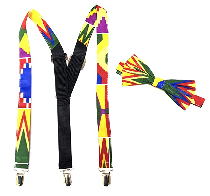 06263030537f Amazon.com: African fabric suspenders, suspenders, Bow tie, For boys, African  print bow tie Ajustable,Bow tie and suspenders set, bow tie set for kids ...