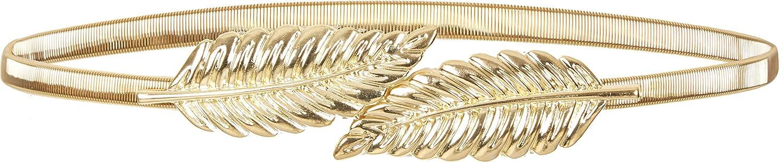 BlackButterfly Metallic Elastic Stretchy Chain Leaf Belt (Gold, US 10-12)