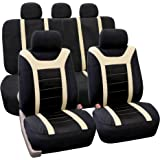 FH GROUP Universal Fit Full Set Sports Fabric Car Seat Cover with Airbag & Split Ready, (Beige/Black) (FH-FB070115, Fit Most Car, Truck, SUV, or Van)