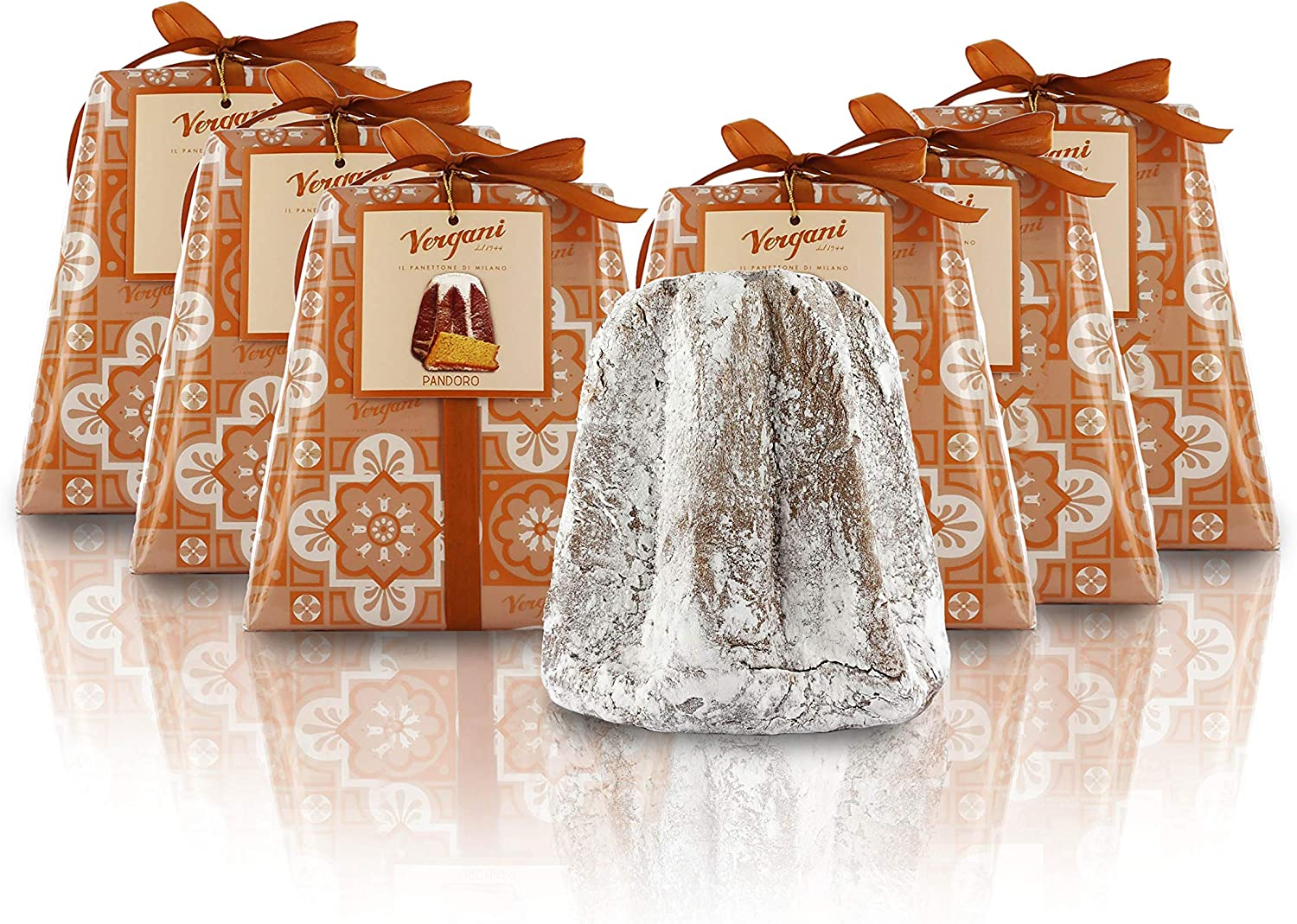 Vergani Classic Pandoro Baked in Milan (Italy), Hand-Wrapped, Traditional Recipe - 1kg / 2lb 3.2oz - Pack of 6 Cakes