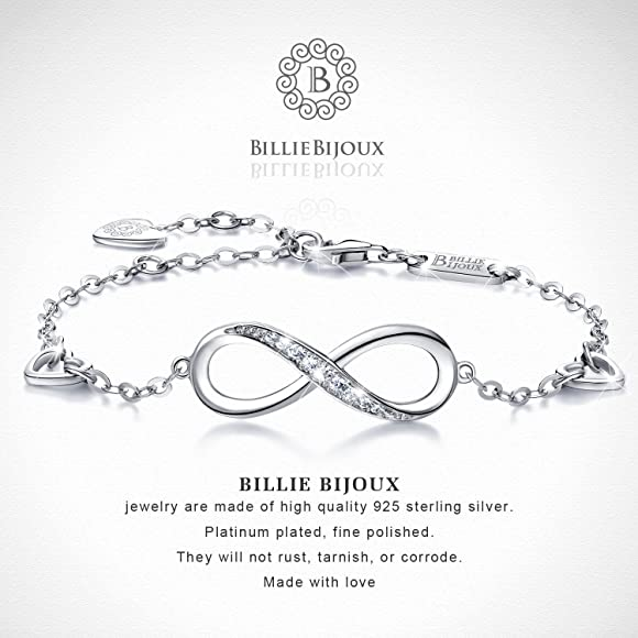 e5aa71f416bf61 Amazon.com: Billie Bijoux Womens 925 Sterling Silver Infinity ...