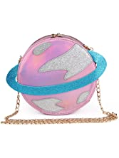 LUI SUI-Stunning Parent-child Circular planet party bag women Bestie handbag laser planet orbit bag cute shoulder bag C54 (Parent, Pink)