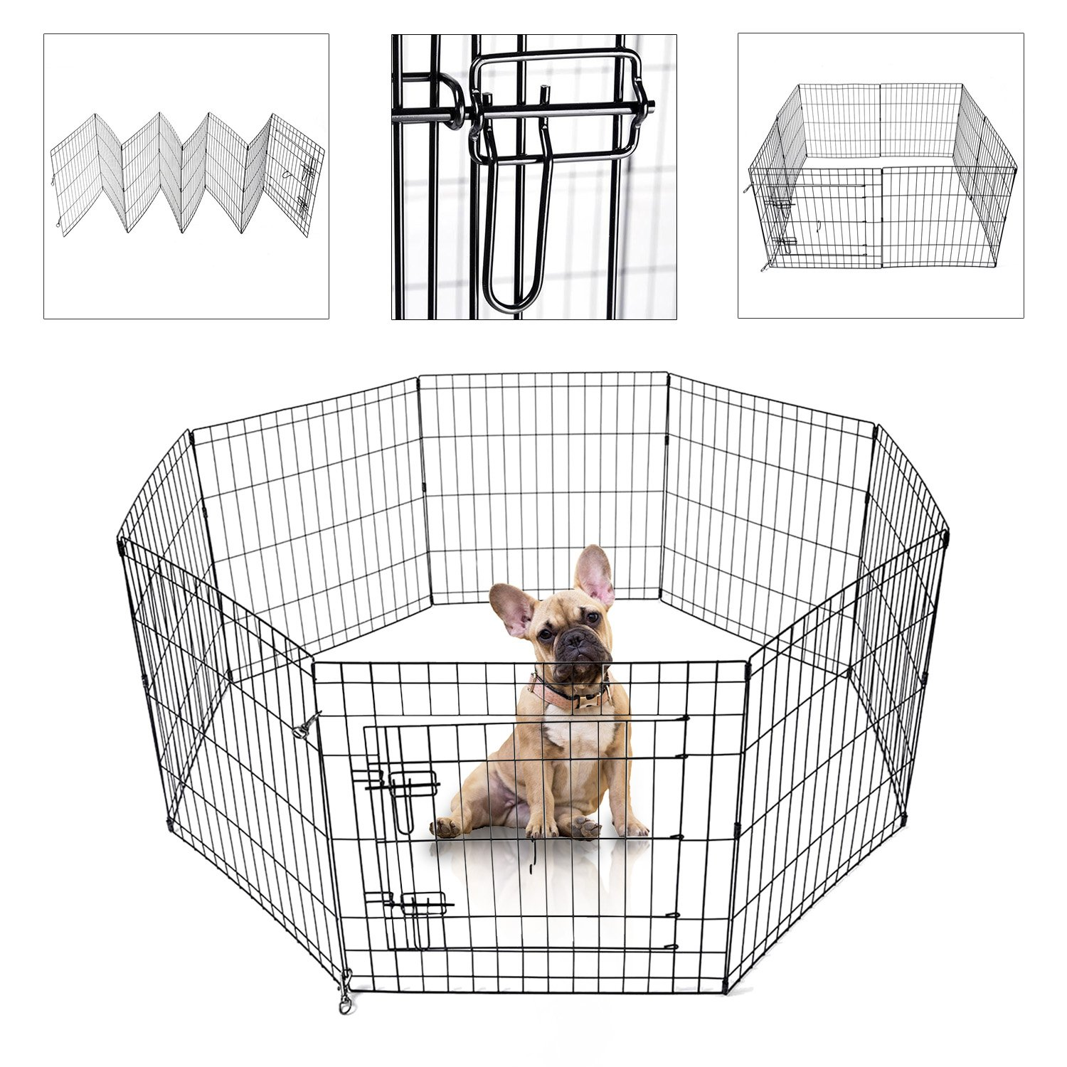Koval Inc. Dog Playpen Kennel Exercise Fence 8-Panel (Black 24''Hx24''W) by KOVAL INC.