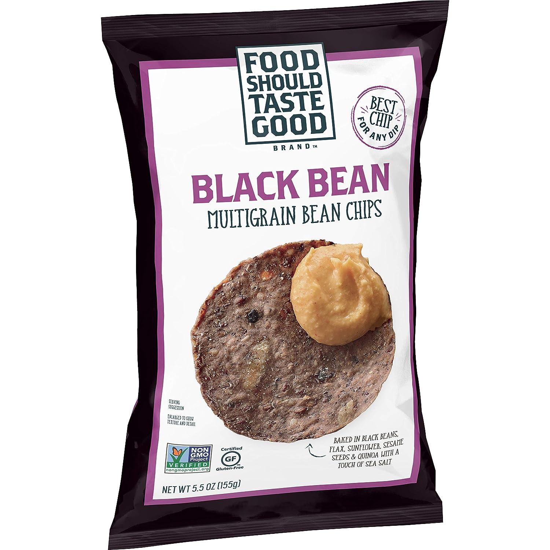 Food Should Taste Good Tortilla Chips Gluten Free non-GMO Black Bean Multigrain 5.5 oz Bag