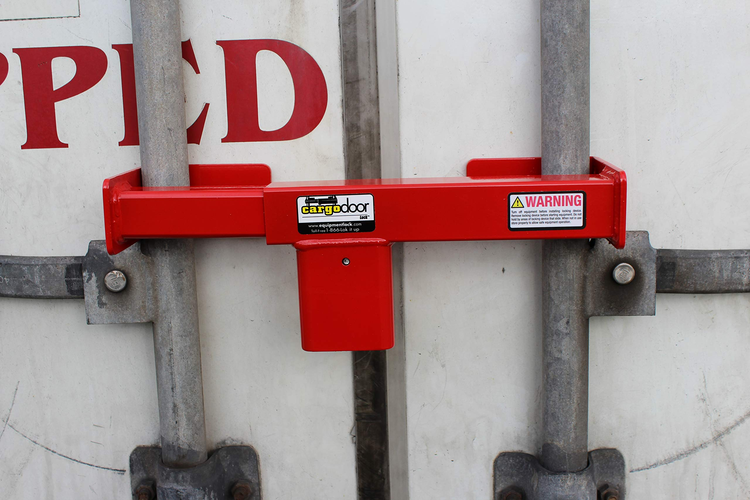 Cargo Door Lock CDL-C - Combo secures The Vertical Lock rods on Swing Doors Together on All semi Trailers, Safety Red