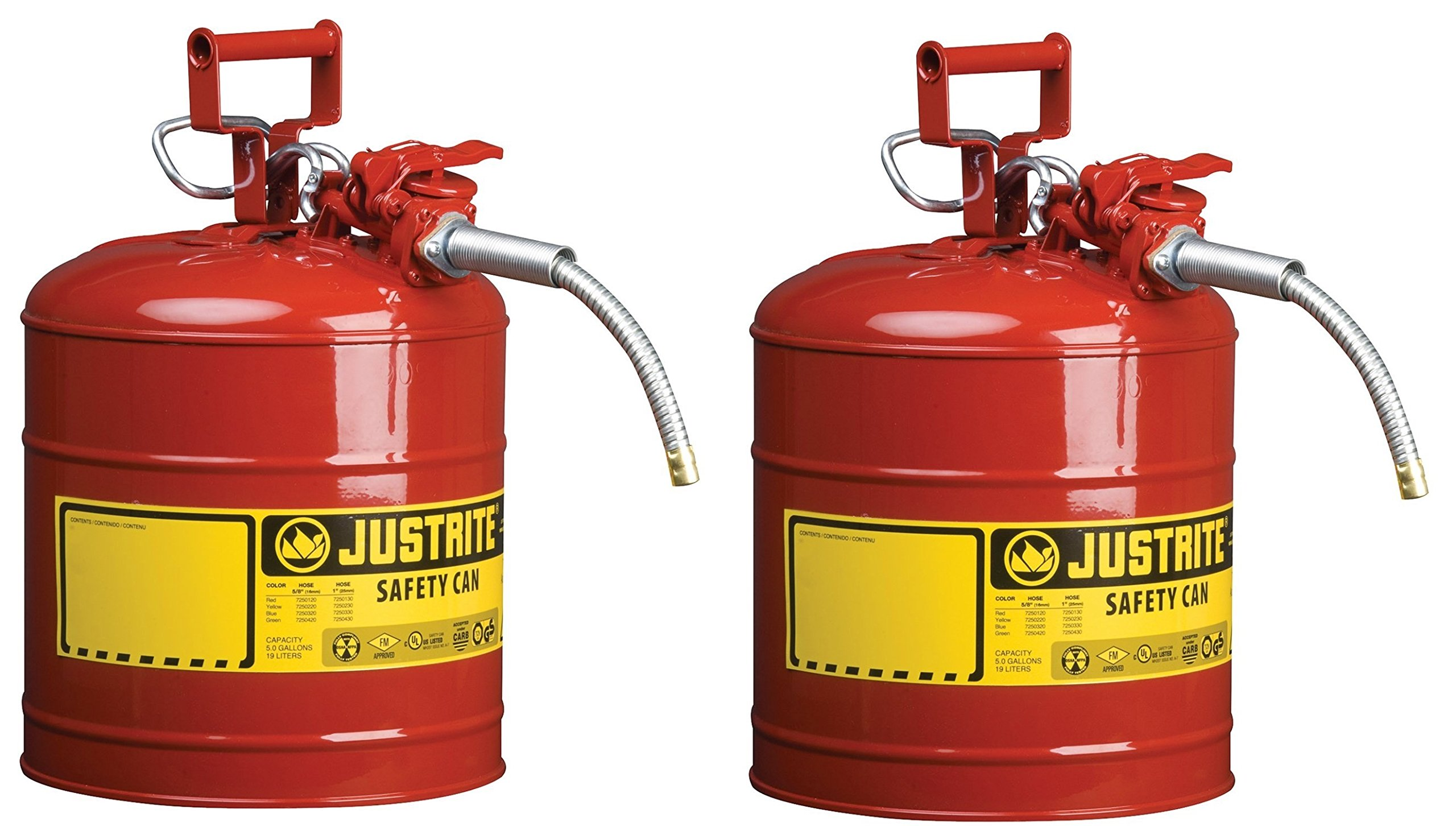 Justrite 7250120 AccuFlow 5 Gallon, 11.75'' OD x 17.50'' H Galvanized Steel Type II Red Safety Can With 5/8'' Flexible Spout (Pack of 2)
