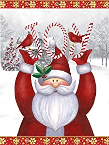 Christmas Santa Claus Snowflake Garden Flag 12 x 18 Double Sided Snow Cardinal Bird Joy House Yard Flags Welcome Winter Outdoor Indoor Banner for Party Home Xmas Decorations