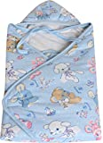 Tiny Care Baby Boy's and Baby Girl's Nursery Print Poly Filled Hooded Wrapper (Blue)