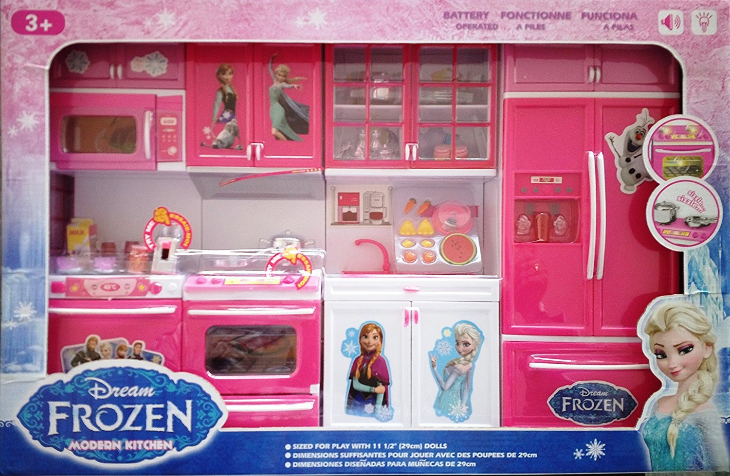 Buy happy giftmart frozen kitchen set cartoon 4 cabinets with led and music modern dream playset online at low prices in india amazon in